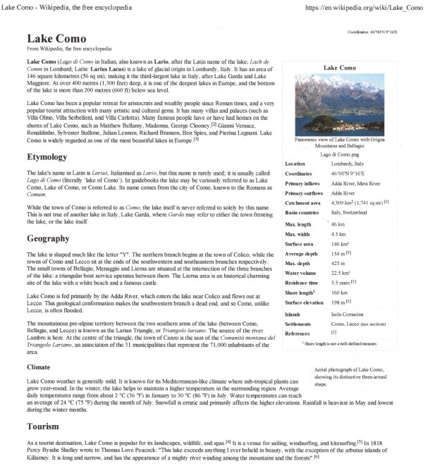 Lake Como Information
